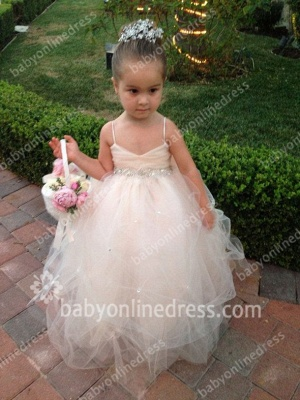 Spaghetti Straps Sleeveless Sequins Sash Ball Gown Tulle Zipper Bowknot Flower Girl Dresses