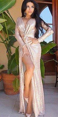 Shiny Sheath Sequined Prom Dress   Deep V-Neck Long Sleeves Side Slit Evening Dress_1
