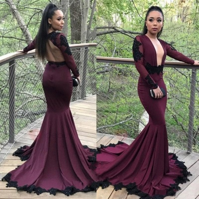 Sexy Long Sleeves Prom Dresses | Deep V-Neck Evening Gowns with Lace Appliques_3
