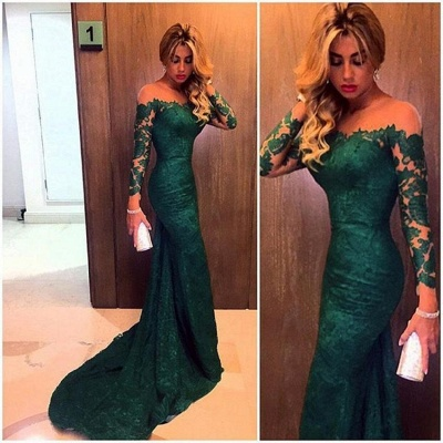 2019 Dark Green Lace Prom Dresses Long Sleeves Mermaid Evening Gowns_3