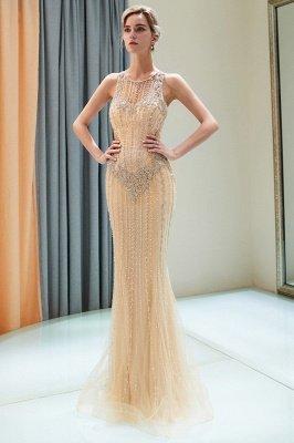 Mermaid  Sleeveless Beading Gold Floor Length Prom Dress | 2019 Evening Dresses_2