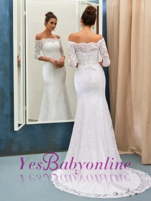 Column Half-sleeves Sweep-train Simple Off-the-shoulder Lace-up Wedding Dress_1