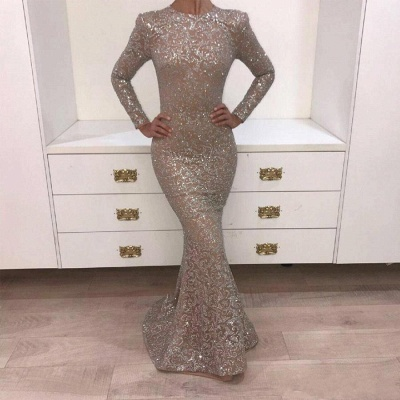 Luxury Mermaid Lace Evening Dresses Jewel Long Sleeves Sequins Prom Dresses_3