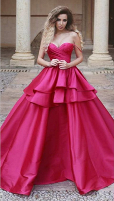 Sweetheart Red Evening Dresses 2019,Ruffles Ball Gown Prom Dress_1