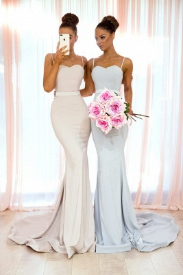 Sexy Spaghetti-Strap Bridesmaid Dresses | Sleeveless Mermaid Wedding Party Dresses_4