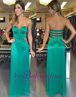 Long Zipper Elegant Sweetheart Green Natural Sleeveless Prom Dresses_1
