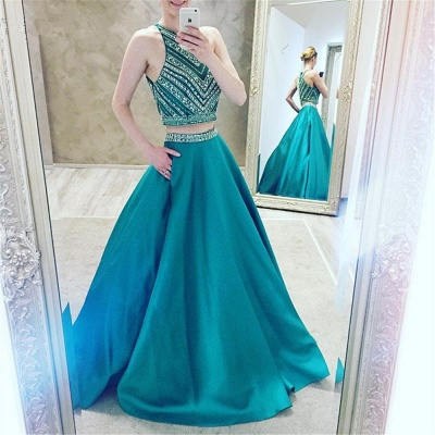 Luxury Halter Sleeveless Two-Pieces A-Line Crystal Prom Dress_4