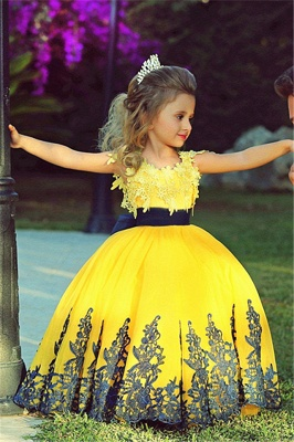 Little Princess Yellow Ball Gown Girls Pageant Dress | Sweet Flower Girl Dress with Black Lace MH006_1