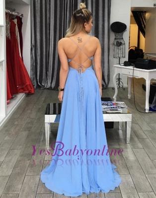 Summer Blue Prom Dresses Spaghettis Straps Chiffon Side Slit Evening Gowns_1