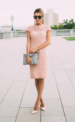 Sheath Blushing Pink Prom Dresses | Short Sleeves Lace Evening Gowns_1