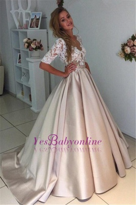 Ball Gown V-Neck Half Long Sleeves Champagne Wedding Dresses_1