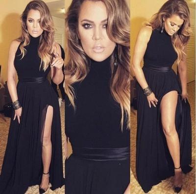Black Long Chiffon Slit High-neck Latest Sexy Evening Dresses_3