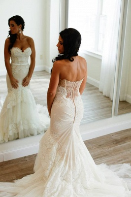 Tulle Appliques Sweetheart Neck Mermaid Wedding Dresses_2