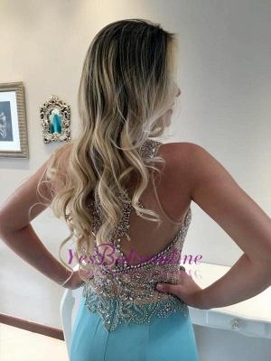 Crystals Mermaid Stunning Long Sleeveless Prom Dress_1
