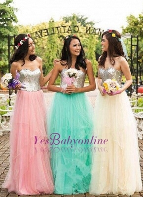 Sweetheart Sequined A-Line Tulle Simple Cheap Bridesmaid Dresses_1