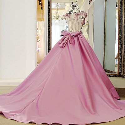 Off-The-Shoulder Flowers Pink Puffy Applique Beaded Bows Prom Dresses_3