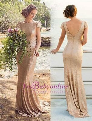Long Short-Sleeve Zipper Elegant Sequined Bridesmaid Dresses_1
