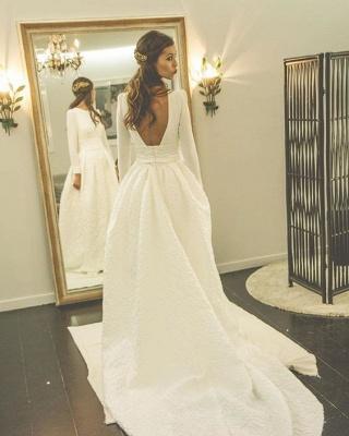 Long Sleeves Jewel A-line Modern Sweep Train Wedding Dress_3