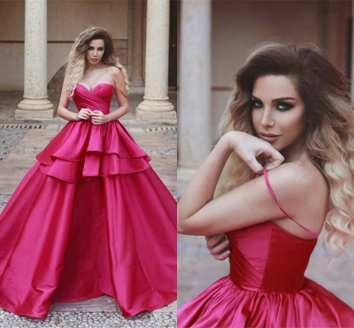 Sweetheart Red Evening Dresses 2019,Ruffles Ball Gown Prom Dress_3