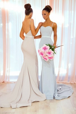 Sexy Spaghetti-Strap Bridesmaid Dresses | Sleeveless Mermaid Wedding Party Dresses_1