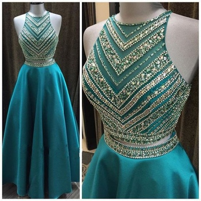 Luxury Halter Sleeveless Two-Pieces A-Line Crystal Prom Dress_3