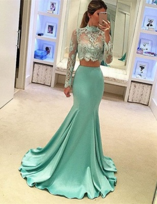 Mint Two-Piece Prom Dresses Sheer Lace Appliques High Neck Long Sleeves Sexy Mermaid Evening Gowns_2