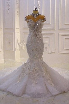 Stunning Beading High Neck Cap Sleeve Open Back Flower Mermaid Fit And Flare Wedding Dresses_5