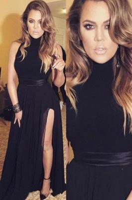 Black Long Chiffon Slit High-neck Latest Sexy Evening Dresses_2
