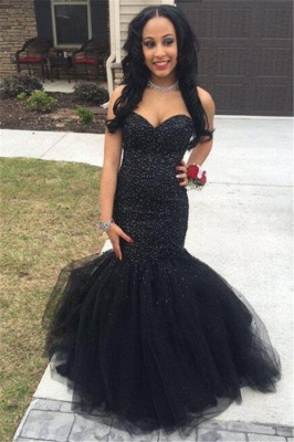 Sleeveless Tulle Mermaid Beading Sexy Black Prom Dress Evening Gown_2