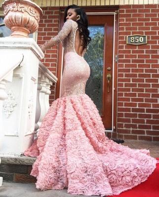 Luxury Pink Mermaid Prom Dresses Sheer Beading Long Sleeves Floral Skirt Evening Gowns_3
