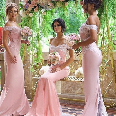 Elegant Blushing Pink Bridesmaid Dress Off-the-Shoulder Long Lace Appliques Maid of Honor Dresses_3
