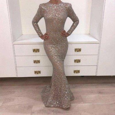 Luxury Mermaid Lace Evening Dresses Jewel Long Sleeves Sequins Prom Dresses_3