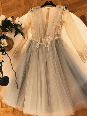 Chic A-Line  Homecoming Dresses | V-Neck Long Sleeves Lace Applique Cocktail Dresses_1