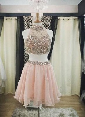 Blush Short Pink Luxury Two-Piece Halter-Neck Crystals Homecoming Dresses_3