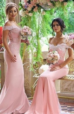 Elegant Blushing Pink Bridesmaid Dress Off-the-Shoulder Long Lace Appliques Maid of Honor Dresses_2