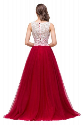 Elegant Red  Evening Gowns Sleeveless Floor-Length A-Line Prom Dress_5