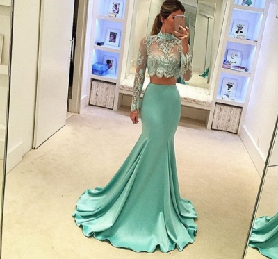 Mint Two-Piece Prom Dresses Sheer Lace Appliques High Neck Long Sleeves Sexy Mermaid Evening Gowns_3
