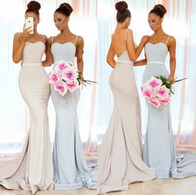 Sexy Spaghetti-Strap Bridesmaid Dresses   Sleeveless Mermaid Wedding Party Dresses_3