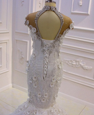 Stunning Beading High Neck Cap Sleeve Open Back Flower Mermaid Fit And Flare Wedding Dresses_3