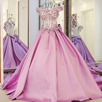 Off-The-Shoulder Flowers Pink Puffy Applique Beaded Bows Prom Dresses_6