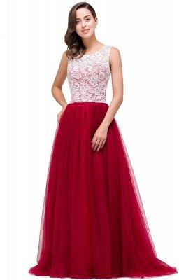 Elegant Red  Evening Gowns Sleeveless Floor-Length A-Line Prom Dress_7