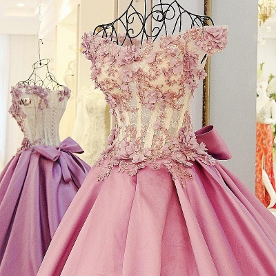 Off-The-Shoulder Flowers Pink Puffy Applique Beaded Bows Prom Dresses_4