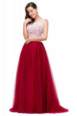 Elegant Red  Evening Gowns Sleeveless Floor-Length A-Line Prom Dress_8