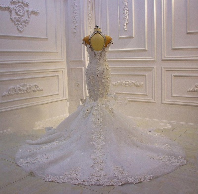 Stunning Beading High Neck Cap Sleeve Open Back Flower Mermaid Fit And Flare Wedding Dresses_4