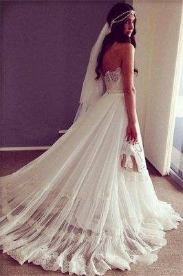 Sweep Train Lace Chic Sleeveless Strapless A-line Wedding Dress_2