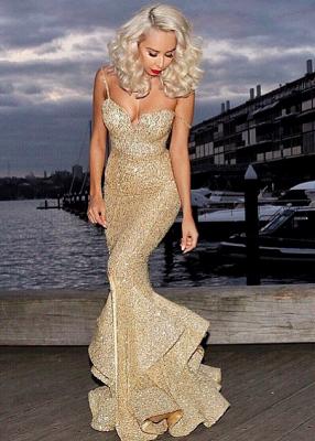 Ruffles-Skirt Gold Mermaid Side-Slit Sequins Spaghettis-Straps Prom Dresses_3