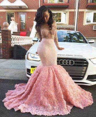 Luxury Pink Mermaid Prom Dresses Sheer Beading Long Sleeves Floral Skirt Evening Gowns_5