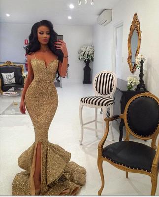 Ruffles-Skirt Gold Mermaid Side-Slit Sequins Spaghettis-Straps Prom Dresses_4