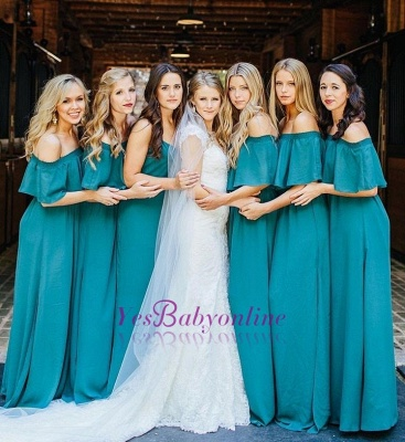 Green Shoulder Lang Hunter Elegant Chiffon Party Off Wedding Bridesmaid Dress_1