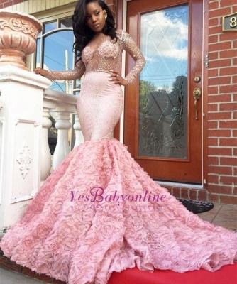 Luxury Pink Mermaid Prom Dresses Sheer Beading Long Sleeves Floral Skirt Evening Gowns_1